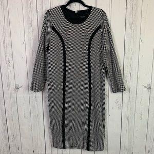 Eloquii | black white long sleeve dress | size 14